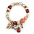 Trendy Ceramic, Glass and Semiprecious Bead, Gold/ Silver Tone Metal Rings, Charm Flex Bracelet (Pink, Red, Cream) - 18cm L