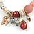Trendy Ceramic, Glass and Semiprecious Bead, Gold/ Silver Tone Metal Rings, Charm Flex Bracelet (Pink, Red, Cream) - 18cm L - view 3