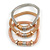 Set Of 3 Thick Mesh Flex Bracelets with Polished/ Textured Rings in Gold/ Silver/ Rose Gold - 19cm L