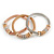 Set Of 3 Thick Mesh Flex Bracelets with Polished/ Textured Rings in Gold/ Silver/ Rose Gold - 19cm L - view 4