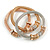 Set Of 3 Thick Mesh Flex Bracelets with Polished/ Textured Rings in Gold/ Silver/ Rose Gold - 19cm L - view 3