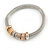Set Of 3 Thick Mesh Flex Bracelets with Polished/ Textured Rings in Gold/ Silver/ Rose Gold - 19cm L - view 5