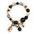 Trendy Ceramic, Glass and Semiprecious Bead, Gold/ Silver Tone Metal Rings, Charm Flex Bracelet (Black, Grey, Cream) - 18cm L