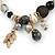 Trendy Ceramic, Glass and Semiprecious Bead, Gold/ Silver Tone Metal Rings, Charm Flex Bracelet (Black, Grey, Cream) - 18cm L - view 3