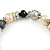 Trendy Ceramic, Glass and Semiprecious Bead, Gold/ Silver Tone Metal Rings, Charm Flex Bracelet (Black, Grey, Cream) - 18cm L - view 4
