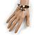 Trendy Ceramic, Glass and Semiprecious Bead, Gold/ Silver Tone Metal Rings, Charm Flex Bracelet (Black, Grey, Cream) - 18cm L - view 2