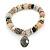 Trendy Ceramic and Semiprecious Bead, Gold/ Silver Tone Metal Rings Flex Bracelet (Cream, Beige, Natural, Black) - 18cm L - view 3