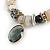 Trendy Ceramic and Semiprecious Bead, Gold/ Silver Tone Metal Rings Flex Bracelet (Cream, Beige, Natural, Black) - 18cm L - view 4