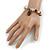 Trendy Ceramic and Semiprecious Bead, Gold/ Silver Tone Metal Rings Flex Bracelet (Cream, Beige, Natural, Black) - 18cm L - view 2
