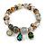 Trendy Glass and Semiprecious Bead, Gold Tone Metal Rings Flex Bracelet (Green, Grey, Olive)) - 18cm L - view 3