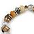 Trendy Glass and Semiprecious Bead, Gold Tone Metal Rings Flex Bracelet (Green, Grey, Olive)) - 18cm L - view 5