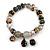 Trendy Glass and Semiprecious Bead, Gold Tone Metal Rings Flex Bracelet (Black, Grey) - 18cm L