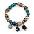 Trendy Glass and Semiprecious Bead, Gold Tone Metal Rings Flex Bracelet (Teal, Blue, Grey) - 18cm L