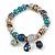 Trendy Glass and Semiprecious Bead, Gold Tone Metal Rings Flex Bracelet (Teal, Blue, Grey) - 18cm L - view 5