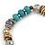 Trendy Glass and Semiprecious Bead, Gold Tone Metal Rings Flex Bracelet (Teal, Blue, Grey) - 18cm L - view 3