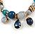 Trendy Glass and Semiprecious Bead, Gold Tone Metal Rings Flex Bracelet (Teal, Blue, Grey) - 18cm L - view 4