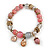 Trendy Glass and Semiprecious Bead, Gold Tone Metal Rings Flex Bracelet (Pink, Grey) - 18cm L - view 3