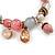 Trendy Glass and Semiprecious Bead, Gold Tone Metal Rings Flex Bracelet (Pink, Grey) - 18cm L - view 4