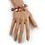 Trendy Glass and Semiprecious Bead, Gold Tone Metal Rings Flex Bracelet (Pink, Grey) - 18cm L - view 2