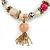 Trendy Ceramic, Glass and Semiprecious Bead, Gold/ Silver Tone Metal Rings, Charm Flex Bracelet (Pink, Grey) - 18cm L - view 3