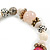 Trendy Ceramic, Glass and Semiprecious Bead, Gold/ Silver Tone Metal Rings, Charm Flex Bracelet (Pink, Grey) - 18cm L - view 4