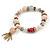 Trendy Ceramic, Glass and Semiprecious Bead, Gold/ Silver Tone Metal Rings, Charm Flex Bracelet (Pink, Grey) - 18cm L - view 5