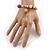 Trendy Ceramic, Glass and Semiprecious Bead, Gold/ Silver Tone Metal Rings, Charm Flex Bracelet (Pink, Grey) - 18cm L - view 2