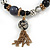 Trendy Ceramic, Glass and Semiprecious Bead, Gold/ Silver Tone Metal Rings, Charm Flex Bracelet (Black, Grey) - 18cm L - view 3