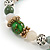 Trendy Ceramic, Glass and Semiprecious Bead, Gold/ Silver Tone Metal Rings, Charm Flex Bracelet (Green, Beige, Milky White) - 18cm L - view 4