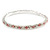 Slim Pink/ Clear Crystal Flex Bracelet In Silver Tone Metal - up to 17cm L - For Small Wrist