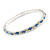 Slim Sky Blue/ Clear Crystal Flex Bracelet In Silver Tone Metal - up to 17cm L - For Small Wrist - view 4