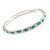Slim Aqua/ Clear Crystal Flex Bracelet In Silver Tone Metal - up to 17cm L - For Small Wrist - view 4