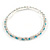 Slim Aqua/ Clear Crystal Flex Bracelet In Silver Tone Metal - up to 17cm L - For Small Wrist - view 5