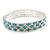 Aqua/ Clear Flex Bracelet in Silver Tone - 17cm L