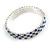Sapphire Blue/ Clear Flex Bracelet in Silver Tone - 17cm L - view 2
