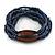 Multistrand Denim Blue Glass Bead with Brown Wooden Bead Flex Bracelet - Medium