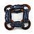 Multistrand Denim Blue Glass Bead with Wooden Rings Flex Bracelet - Medium - view 3