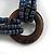 Multistrand Denim Blue Glass Bead with Wooden Rings Flex Bracelet - Medium - view 4