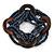 Multistrand Denim Blue Glass Bead with Wooden Rings Flex Bracelet - Medium - view 5