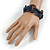 Multistrand Denim Blue Glass Bead with Wooden Rings Flex Bracelet - Medium - view 2