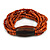 Multistrand Dusty Orange Glass Bead with Brown Wooden Bead Flex Bracelet - Medium - view 3