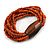 Multistrand Dusty Orange Glass Bead with Brown Wooden Bead Flex Bracelet - Medium - view 4