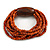 Multistrand Dusty Orange Glass Bead with Brown Wooden Bead Flex Bracelet - Medium - view 5