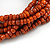 Multistrand Dusty Orange Glass Bead with Brown Wooden Bead Flex Bracelet - Medium - view 6