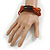 Multistrand Dusty Orange Glass Bead with Brown Wooden Bead Flex Bracelet - Medium - view 2