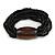 Multistrand Black Glass Bead with Brown Wooden Bead Flex Bracelet - Medium