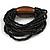 Multistrand Black Glass Bead with Brown Wooden Bead Flex Bracelet - Medium - view 4