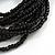 Multistrand Black Glass Bead with Brown Wooden Bead Flex Bracelet - Medium - view 5