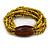 Multistrand Dusty Yellow Glass Bead with Brown Wooden Bead Flex Bracelet - Medium