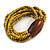 Multistrand Dusty Yellow Glass Bead with Brown Wooden Bead Flex Bracelet - Medium - view 5